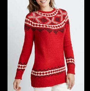 J. Jill Fair Isle Red Wool Blend Sweater Size M